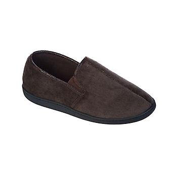Mens Coolers Brand Corded Microsuede & Polar Fleece Slipper 11-12 Brown