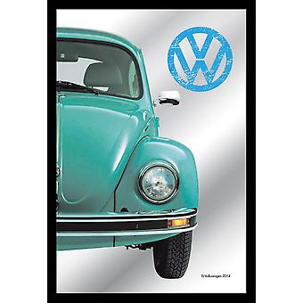 Spiegel VW Käfer Lizenz Deko Wandspiegel bedruckt, hellblauer Käfer,  Kunststoffrahmung schwarz, Holzoptik.