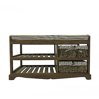 Brown Indoor bench With 2 baskets In Country style-4095-Rebecca Furniture King