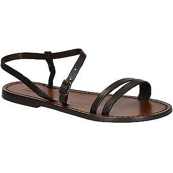 Ręcznie robione ciemny brązowy płaskie sandały dla kobiet