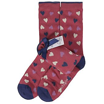 Heart women's soft bamboo crew socks & gift pouch, in blush | Thought