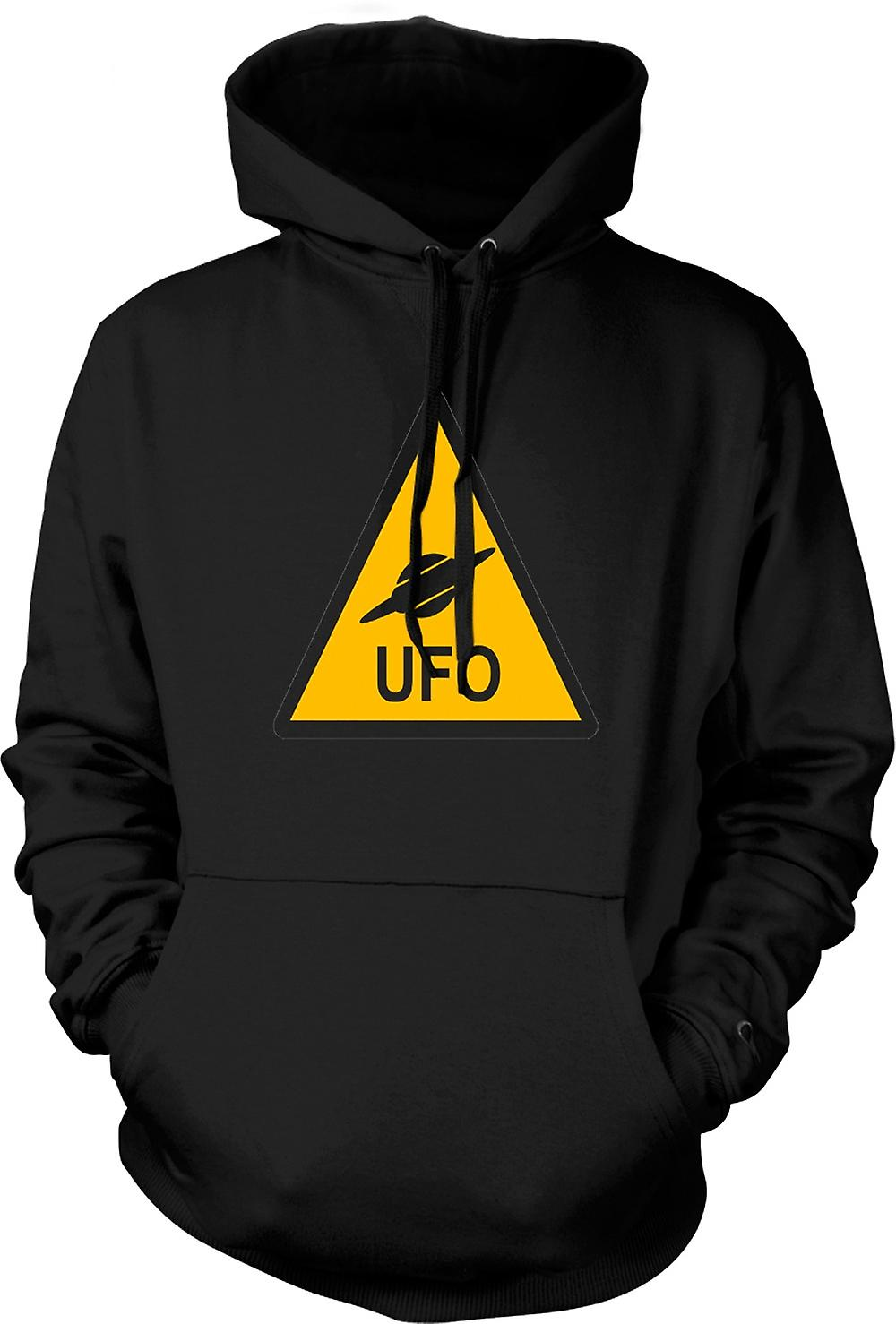 Mens Hoodie - UFO Warning Sign - Funny Kids