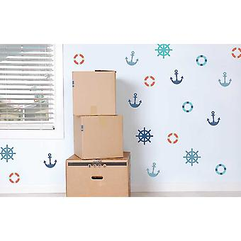 Children's bedroom kids room baby nursery playroom wall sticker, coloured, Set of 20, Sea Design