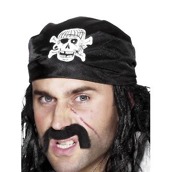 Bandana piraat, zwart, met schedel & Crossbones Fancy Dress accessoire