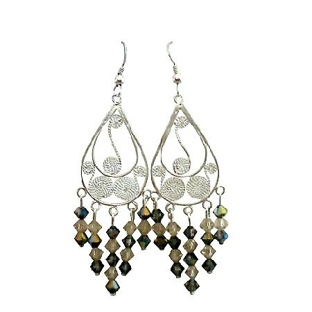 Sterling Silver Ceylon & Toback Crystal Dangling Chandelier Earrings