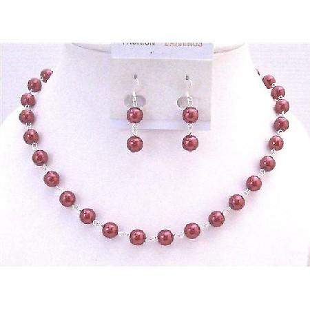 Red Pearl Necklace Set Silver Plated Chain Bridal Wedding Affordable Bridemaids Necklace Valentine Red Jewelry Set