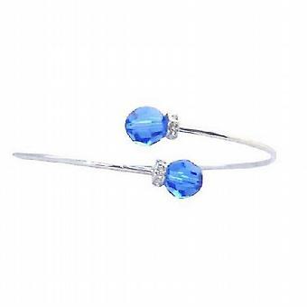 Sapphire Swarovski Crystals Wire Bracelet w/ Rondells