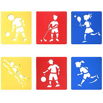 6PC Assorted Sports Drawing Stencil Templates