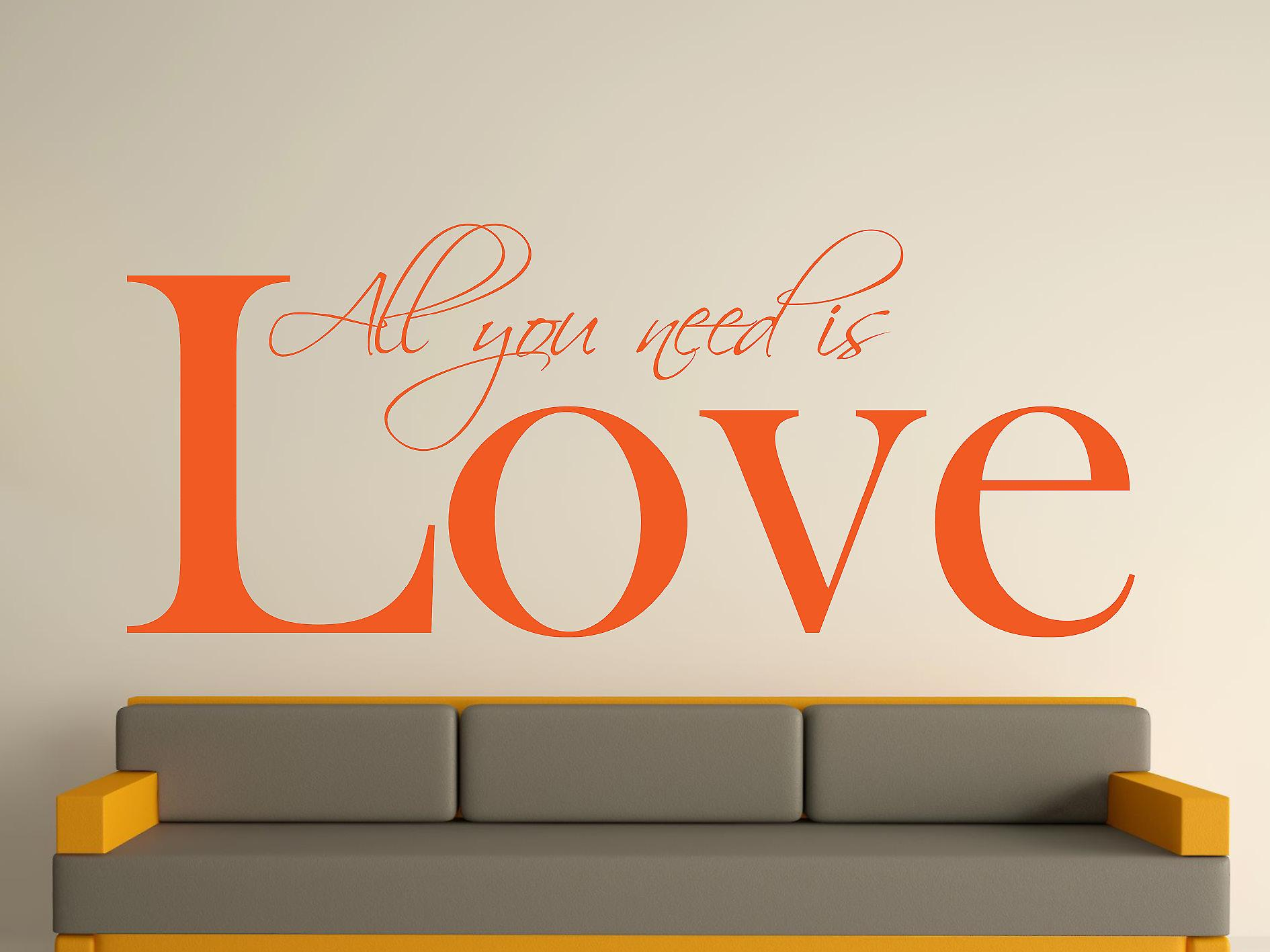 All You Need Wall Art Sticker - Orange