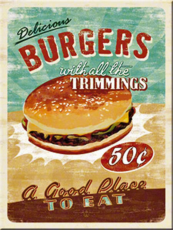 Burgers with Trimmings steel fridge magnet  (na)