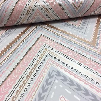 Aztec Chevron Wallpaper Retro Arrows Textured Metallic Luxury Modern Grandeco Gold/Pink