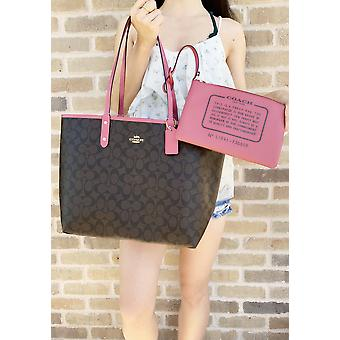 Coach f36658 reversible city tote signature brown strawberry pink