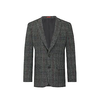 Harris Tweed Mens Grey with Red Overcheck Tweed Jacket Regular Fit 100% Wool Notch Lapel