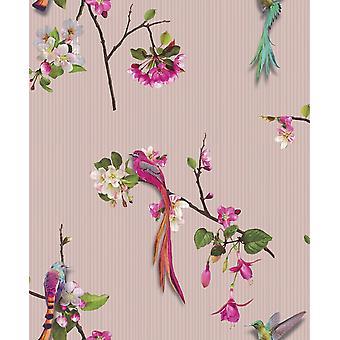 Chinese Oriental Birds Pink Wallpaper Flowers Luxury Textured Vinyl Arthouse