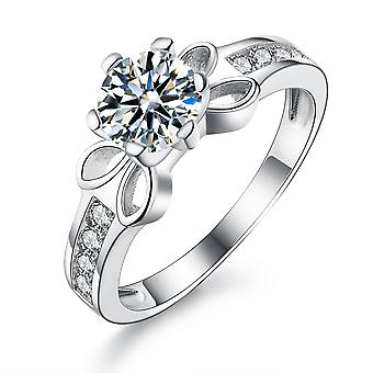 """925 Sterling Silver """"bow"""" Accent Solitaire Engagement Ring"""