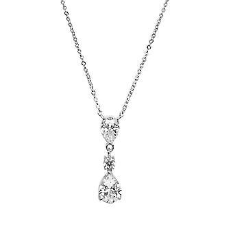 Ah! Jewellery Sterling Silver Clear Pear Crystals From Swarovski Necklace