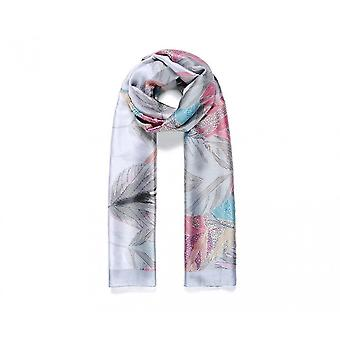 Intrigue Womens/Ladies Bordered Silk Like Leafy Print Scarf
