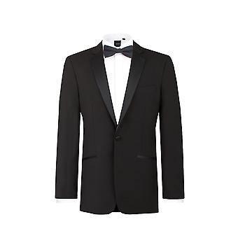 Dobell Mens Black Tuxedo Dinner Jacket Regular Fit 100% Wool Notch Lapel