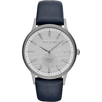 Emporio Armani Ar11119 cinturino in pelle blu cassa in acciaio orologio Menâs