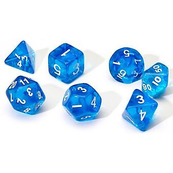Translucent Blue Poly Set Dice Set