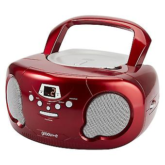 Groov-e Boombox Portable CD Player mit Radio/Aux In/Headphone Red (GVPS733RD)