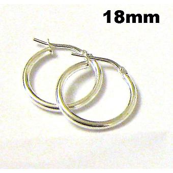 TOC Sterling Silver Small Round Creole Hoop Earrings 18mm