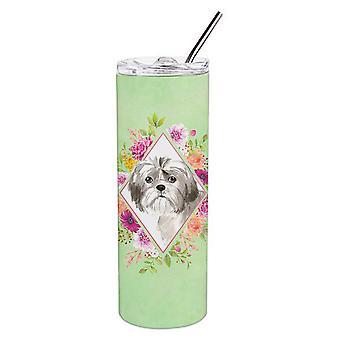 Shih Tzu cucciolo verde fiori doppio walled in acciaio inox 20 oz Skinny Tumbler