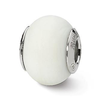 925 Sterling Silver Matte finish Antique finish Italian Murano Glass Reflections White Matte Italian Murano Bead Charm