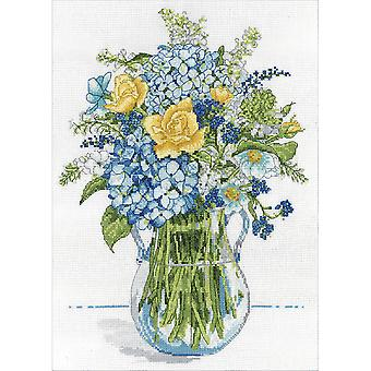 Blue & Yellow Floral Counted Cross Stitch Kit-10