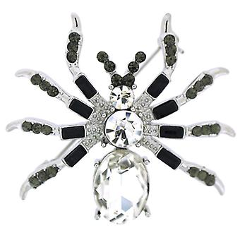 Brooches Store Jet Black Diamond and Crystal Spider Brooch