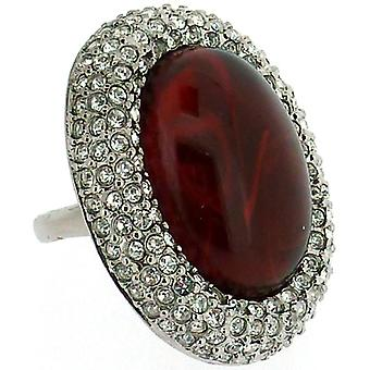 Kenneth Jay Lane Swarovski krystal & Ruby rød Opal sten Oval Ring