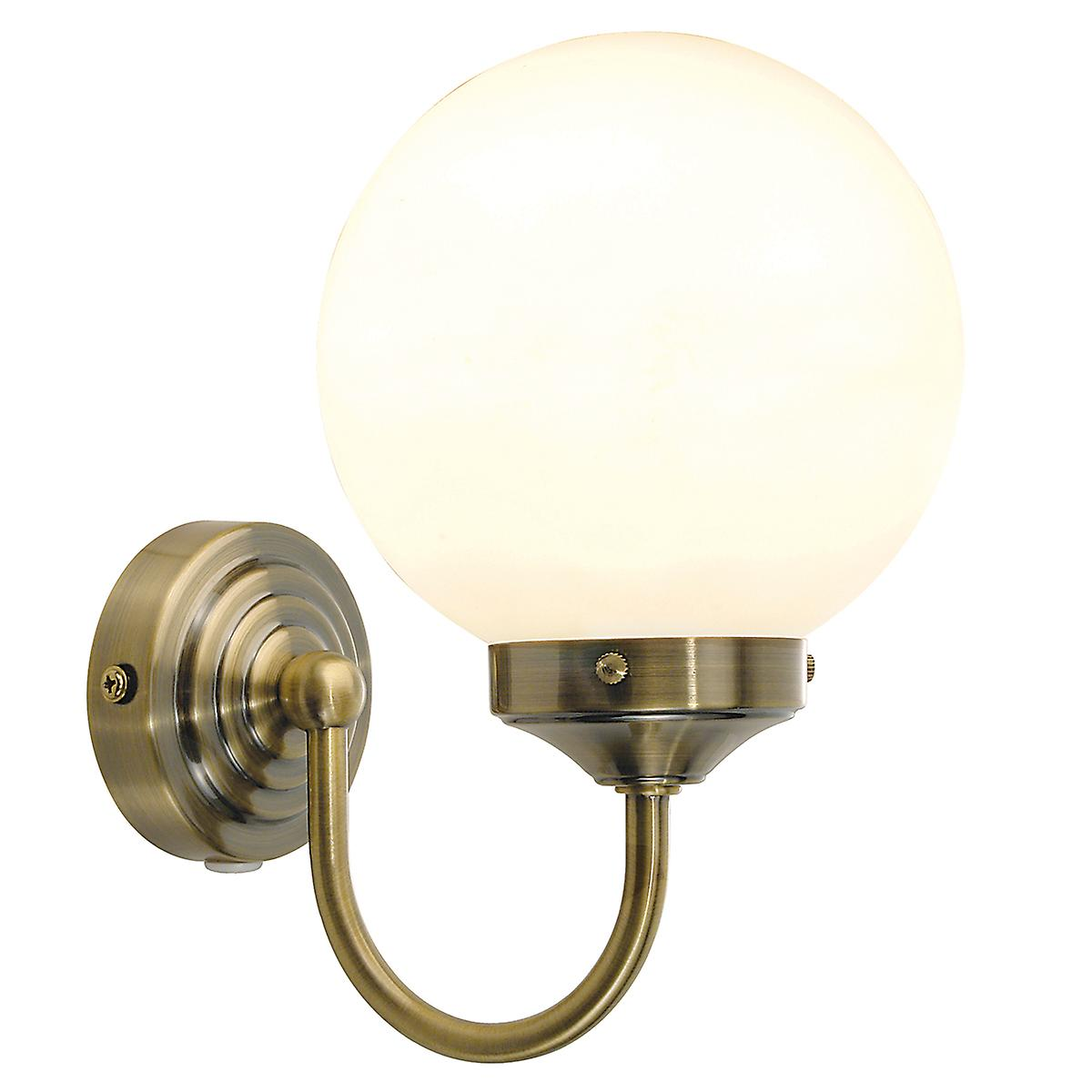Dar BAR0775 Barclay Switched Bathroom Wall Light With Opal Glass Ball