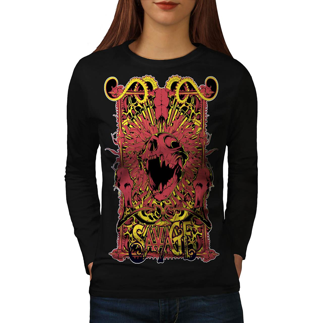 Savage Monster Death Hell Devil Women Black Long Sleeve T-shirt | Wellcoda