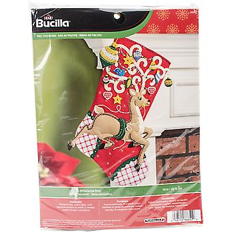 Ornamental Deer Stocking Felt Applique Kit-18