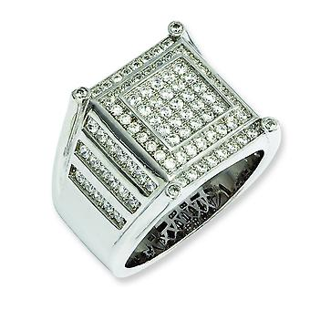 Sterling Silver and CZ Brilliant Embers Mens Ring - Ring Size: 9 to 11