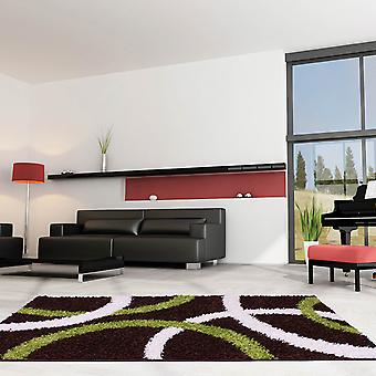 Retro Curve Rugs In Chocolate And Lime Green