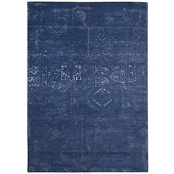 Distressed Windsor Blue Tribal Flatweave Rug 140 x 200 - Louis De Poortere