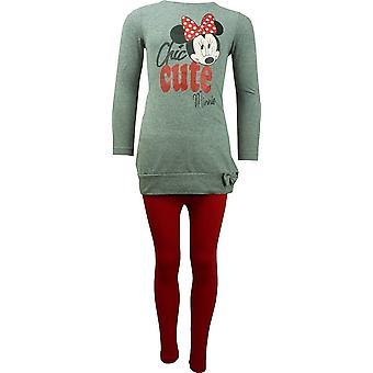 Girls Disney Minnie Mouse Long Sleeve Tunic Top & Leggings Set HO1196