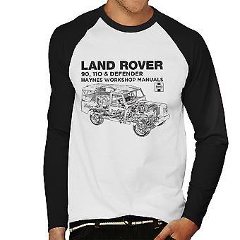 Haynes Owners Workshop Manual Land Rover Defender Black Men's Baseball Long Sleeved T-Shirt