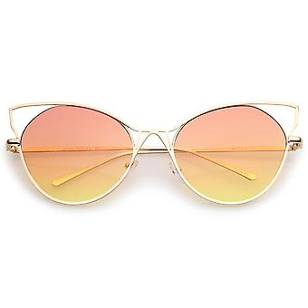 Women's Open metalen slanke tempel verloop vlakke Lens Oversize Cat Eye zonnebril 60mm