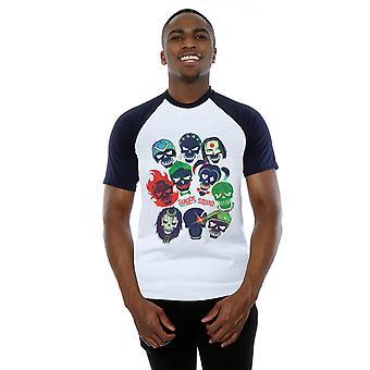 Suicide Squad Men's Band of Skulls Filled Baseball T-Shirt