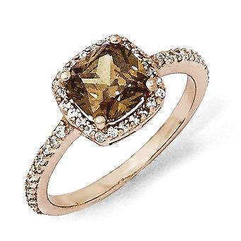 925 Sterling Silver Cushion Cut Cubic Zirconia Cocoa Rose Gold-Flashed Ring - Ring Size: 6 to 8