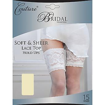 Couture Womens/Ladies Soft Bridal & Sheer lacent Top Hold Ups (1 paire)