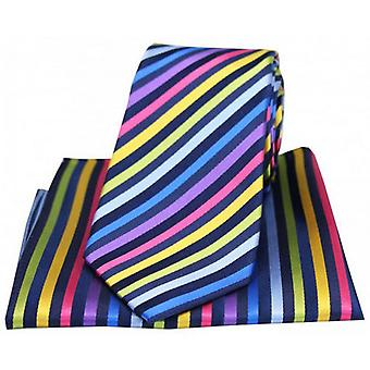 Posh and Dandy Thin Stripes Tie and Pocket Square Set - Multi-colour