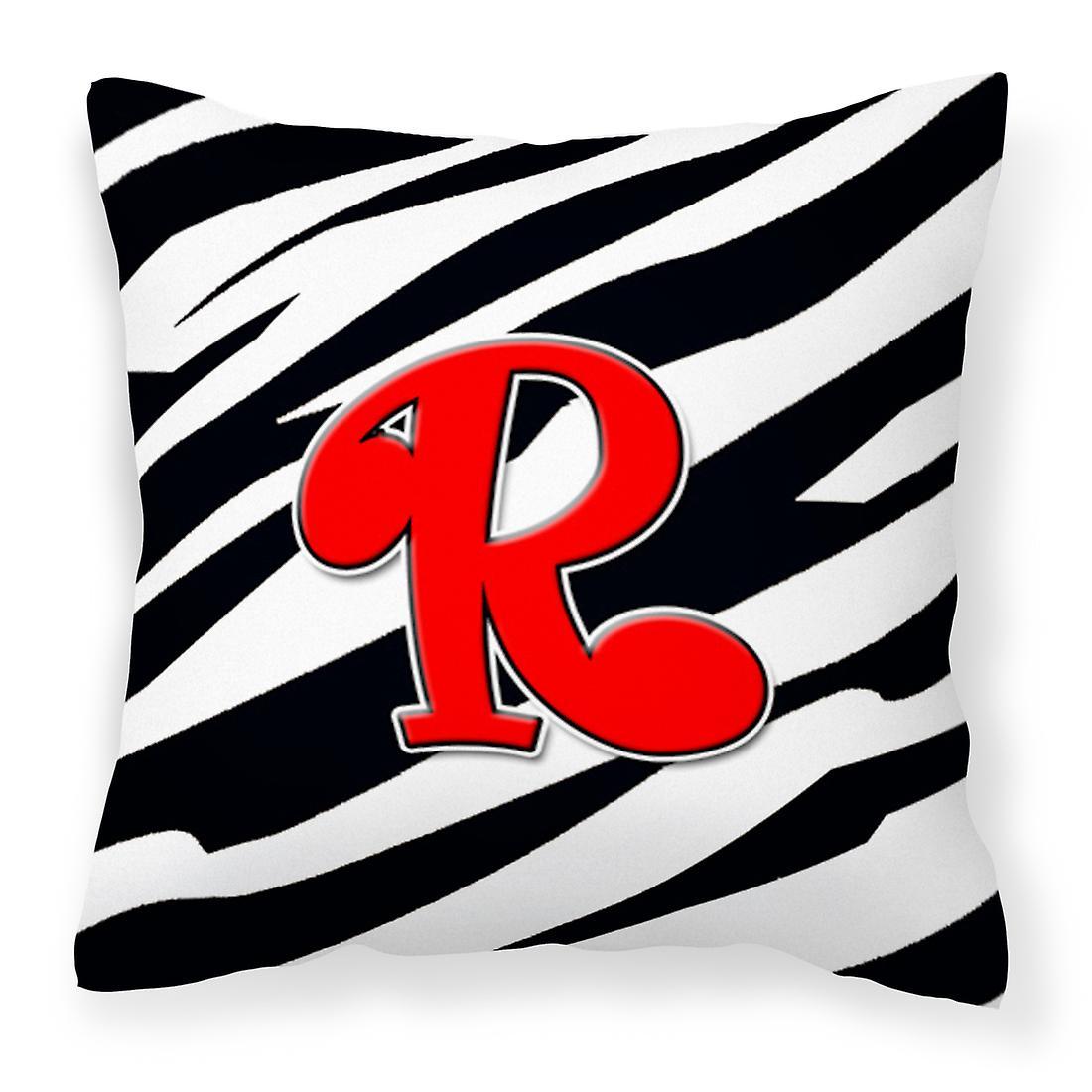 Rouge Tissu Toile Initiale Cj1024 Monogramme Zebra Décorative Oreiller R DIYW9HEe2