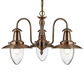 Fisherman Copper Finish Three Light Ceiling Light With Seeded Glass - Searchlight 5333-3cu
