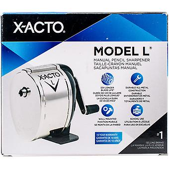 X-ACTO(R) Model L Hand Crank Standard Pencil Sharpener-Desktop & Wall Mount, Black & Chrome X1041