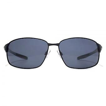 Freedom Polarised Quebec Oval Metal Sunglasses In Matte Black On Green