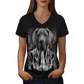 Great Dane Face Cool Dog Women BlackV-Neck T-shirt | Wellcoda