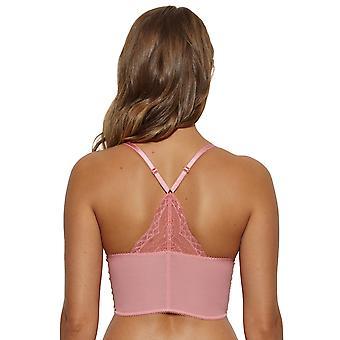 Gossard 7718 Women's Superboost Lace Apricot Pink Lace Underwired Deep V Racerback Bralet Longline Bra